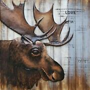 Large Wildlife Moose 3-d Painting Wall Mount On Wood Canvas Sculpture Statue Art