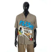 X Disney 1300 Donald Duck Print Silk Bowling Shirt In Camel And Brown