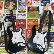 Lot Of Two Ps4 Rock Band 4 Wireless Fender Stratocaster Guitars W/ Straps 91261