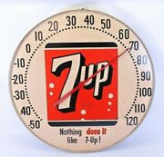 Vintage 7up Thermometer 12 Advertising Round Metal Store Sign Uncola - 1960s