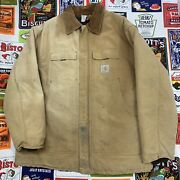 Vtg 1889-1989 100 Years Chore Jacket Distressed 80s Rare Duck Quilt Xxl