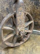 Vintage Cast Iron Well Pulley Antique Farm Barn Primitive Rope Hoist Industrial