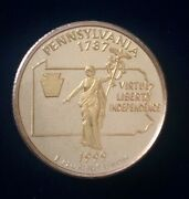 1999 Pennsylvania Gold And Silver Highlighted Statehood Quarters Collection Pcs