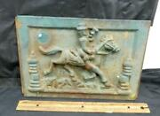 Antique Cast Iron Possibly Stove Plate Man W/ Bugle On Horse Door Cover