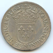 Louis Xiv 1643-1715 Ecu With Wick Long 1648 N Montpellier Quality