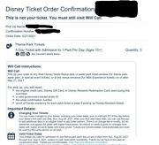 Disney World Tickets - 5 Days, 1 Park Per Day Must Be Used Between Aug 28-sept 4