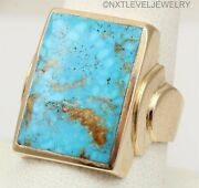 Antique Deco Rare Kingman Mine Water Web Turquoise 10k Solid Gold Mens Ring
