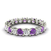 2.03 Ct Certified Natural Diamond Amethyst Bands 14k White Gold Rings Size 6 7 8
