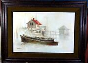 John Kelly Boat House Original Oil Painting 29 1/2 X 20 Signed And Framed