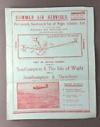 Portsmouth Southsea And Isle Of Wight Aviation Airline Timetable 1938 Psiowa