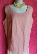 Coldwater Creek Pink Linen Rayon Sleeveless Lined Blouse Side Zip Sz 20 Top
