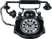 Antique Style Table Office Clock Black Telephone Metal