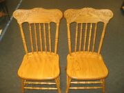 Set 2 Country Antique Solid Oak Amish Dining Or Kitchen Chairs . Carved Top.