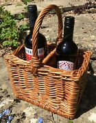 2 Bottle Wicker Wine Carrier Basket Woven Sturdy Strong Prosecco Picnic Fab
