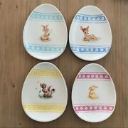 Disney Store Bambi Character Four Easter Plates Thumper Miss Bunny Flower Spring