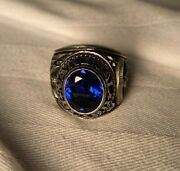Vintage - Military National Guard Ring - Silver Blue - Size 8.5 - Alpha Brand