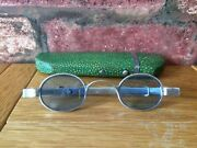 Antique Silver 1832 William Iv Blue Tinted Wig Spectacles And Shagreen Case