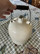 Antique Cream Butter Stoneware Crock Jug With Wire Bale Wood Handle Glass Cork