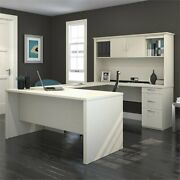 Atlin Designs U Shape Computer Desk With Hutch In White And Chocolate