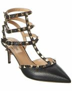 Valentino Rockstud Caged 65 Grainy Leather Ankle Strap Pump Womenand039s Black 39