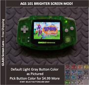 Nintendo Game Boy Advance System Ags101 Backlit Mod-glass Screen - Clear Green
