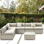 7pcs Outdoor Sectional Sofa Set Wicker All Weather Patio W/cushion Pillows Table