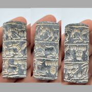 Antique Near East Old Black Stone Animals Carved Cylinder Bead Seal Circa 250bc