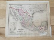 Genuine Antique Gray's Hand Coloured Map Of Mexico United States Of America