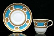 Antique Minton Porcelain Cup And Saucer Turquoise Gold Gilt Pattern A678