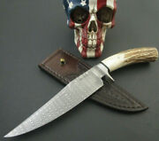 Custom Mozolic Knives Damascus Stag Bowie Fighter Hunting Tooled Leather Sheath
