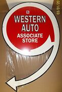 Large Die-cut Western Auto Sign Heavy Steel Great Color And Shine-30 X 20