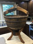 Antique Primitive Wooden Stave Well Water Bucket Cast Iron Bands/w Display Stand