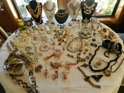 Huge Vintage Jewelry Lot, Rhinestones,100+ Pieces Nearly 1/2 Are Signed Nojunk