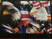 One Of A Kind Epoxy Patriotic Us Flag Bald Eagle Foldable Table - Utility And Art