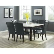 Francis Square White Marble Dining Table With Dark Cherry Legs