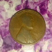 1942 No Mint Mark Wheat Penny Circulated Extremely Rare Black Toning Error