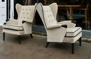 Pair Of Vintage 1950s British Wingback Armchairs Upholstered In Velvet Cloth