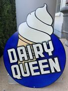 Vintage Style Large Dairy Queen Usa Made Ice Cream Die Cut Metal Sign