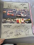 Nascar Drivers Signed 1993 Goodyear Racing Wall Calendar 17 X 24 Inches