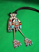 Zuni Inlay Bolo By Herbert And Esther Cellicion - A Huge And Gorgeous Masterpiece