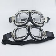 2x Classic Pilot Aviator Style Split Lens Motorcycle Goggles Black Leather