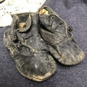 Antique Leather Button Up Child Or Doll Boots/high Top Shoes