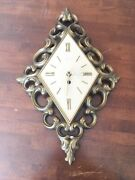 Syroco Wall Clock Vintage 4480 Gold Mid-century Converted Scroll Motif Usa