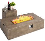 Fire Pit Table With Tank Cover Rustic Glass Rocks Patio Outdoor Yard Large New