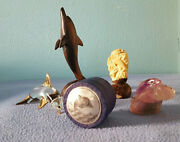 Mixed Lot Of 7 Dolphins Wood Glass Figurines, Various Sizes And 2 Trinket Box