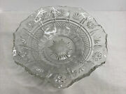 Vintage Victorian Clear Pressed Glass Bowl Star ⭐️ And Leaf 🍁 Patterns 9-6/16andrdquo