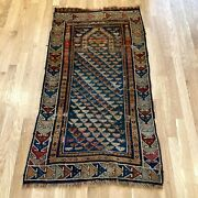Antique Rug 2and039 5 X 4and039 7 Blue Prayer Caucasian Rug Oriental Rug