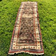 Antique Rug 3and039 X 10and039 2 Brown Runner Long Hall Rug Oriental Rug Worn