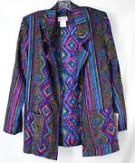 Nwt Brenda Johns Womenand039s Small Ls Wild And Crazy Open Front Blazer W/ Pockets