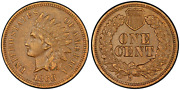 1868 Indian Cent Double Die Pcgs Snow-5 Secure Shield